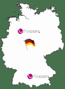 Bild von Deutschlandkarte mit lifecon Standorten
